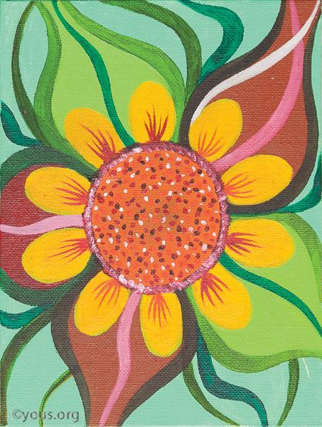 10 flower large teal