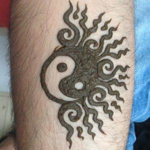 yin yang half sun henna by yous